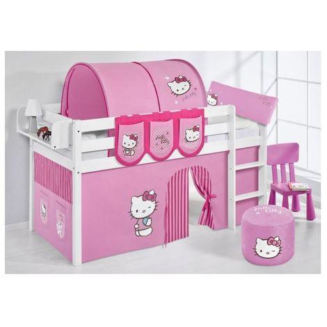 Letti Per Bambini Hello Kitty.Letto Rialzato Hello Kitty Con Scivolo E Senza In Massello 100