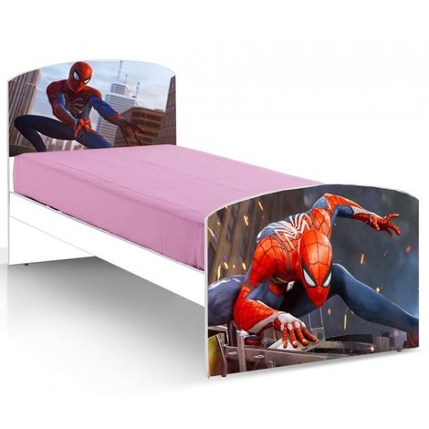 Letto Singolo Con Materasso.Letto Singolo Con Stampe Di Spiderman In Legno Nobilitato E Rete
