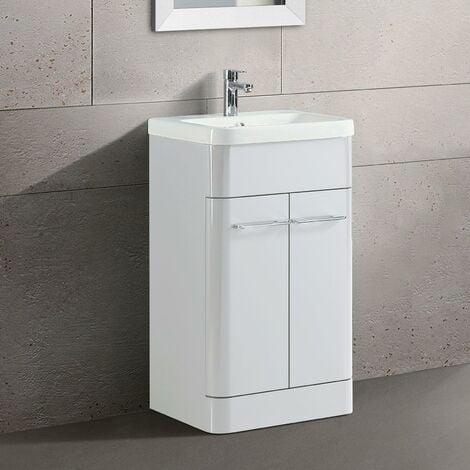 "main image of ""Lex 500mm Freestanding Bathroom Vanity Unit Ceramic Basin Cabinet Gloss White"""