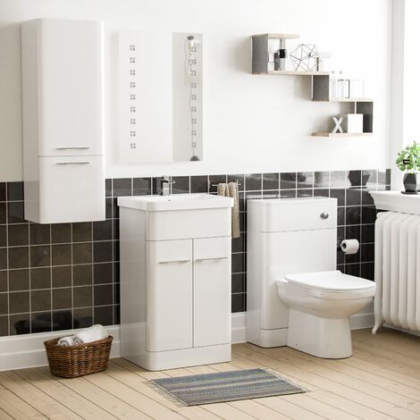 """main image of """"Lex 500mm Vanity Basin Unit, WC Unit, Ellis Back to Wall Toilet & Wall Hung Cabinet White"""""""