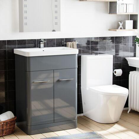 "main image of ""Lex 600mm Vanity Basin Unit & Rimless Close Coupled Toilet Grey"""