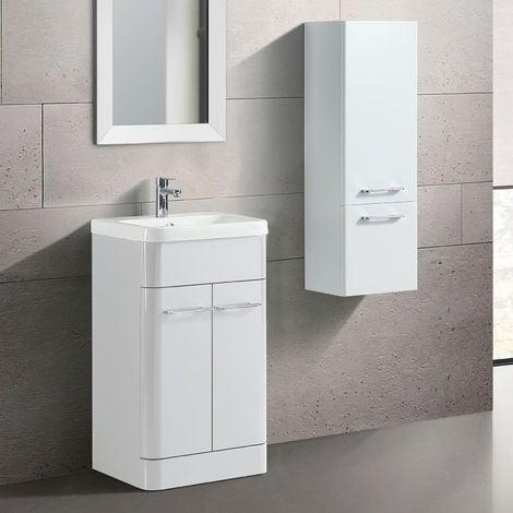 Lex Freestanding Bathroom 500mm Vanity Unit & Side Cabinet White Gloss