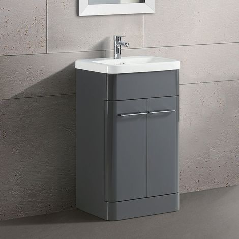Lex Freestanding Bathroom Vanity Unit Ceramic Basin Cabinet Gloss Grey 500mm