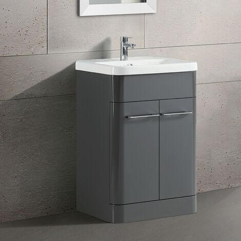 "main image of ""Lex Freestanding Bathroom Vanity Unit Ceramic Basin Cabinet Gloss Grey 600mm"""