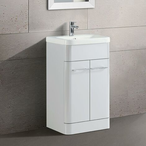 Lex Freestanding Bathroom Vanity Unit Ceramic Basin Cabinet Gloss White 500mm