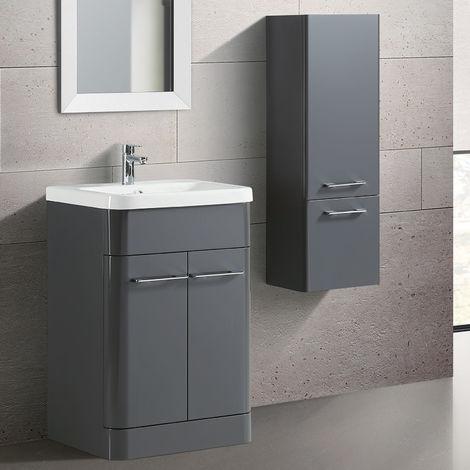Lex Freestanding MDF Bathroom 600mm Vanity Unit & Side Cabinet Grey Gloss