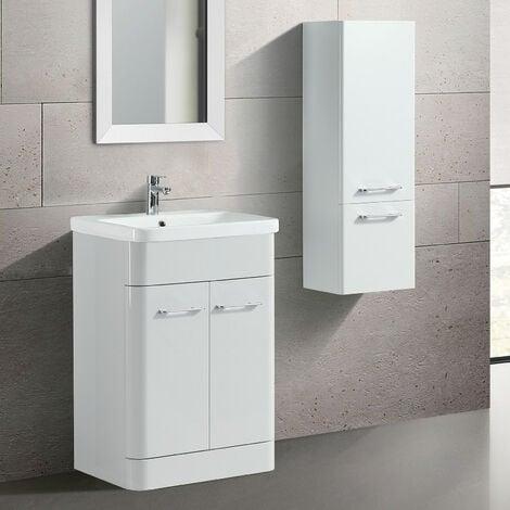 Lex Freestanding MDF Bathroom 600mm Vanity Unit & Side Cabinet White Gloss