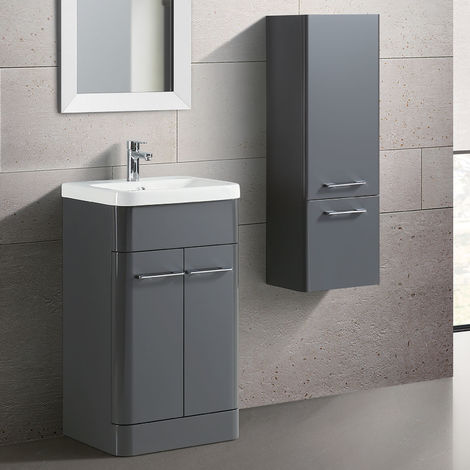 Lex Modern Freestanding Bathroom 500mm Vanity Unit & Side Cabinet Grey Gloss