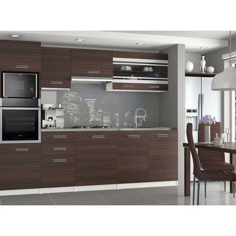 LEXHAM | Cuisine Complète Modulaire Linéaire L 240 cm 7 pcs | Plan de travail INCLUS | Ensemble armoires meubles de cuisine | Châtaigne - Châtaigne