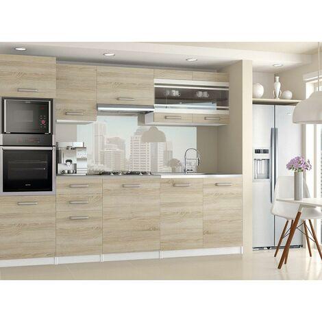 LEXHAM | Cuisine Complète Modulaire Linéaire L 240cm 7 pcs | Plan de travail INCLUS | Ensemble armoires meubles cuisine | Sonoma - Sonoma