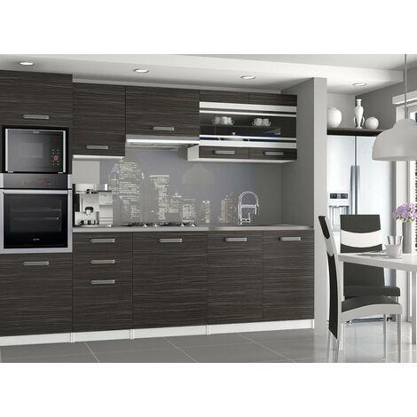 LEXHAM | Cuisine Complète Modulaire Linéaire L 240cm 7 pcs | Plan de travail INCLUS | Ensemble armoires meubles de cuisine | Ébène - Ébène