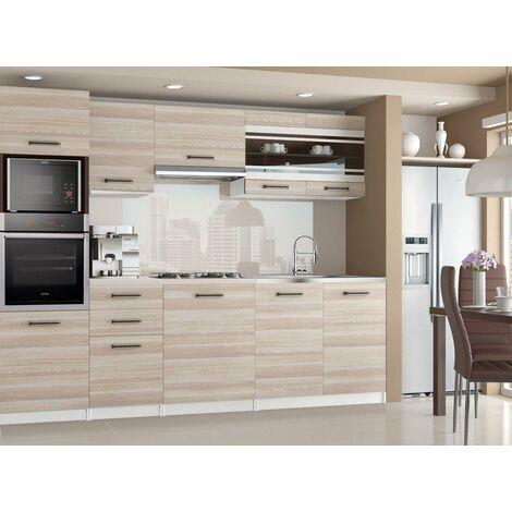 LEXHAM | Cuisine Complète Modulaire Linéaire L 240cm 7 pcs | Plan de travail INCLUS | Ensemble meubles cuisine moderne | Acacia - Acacia