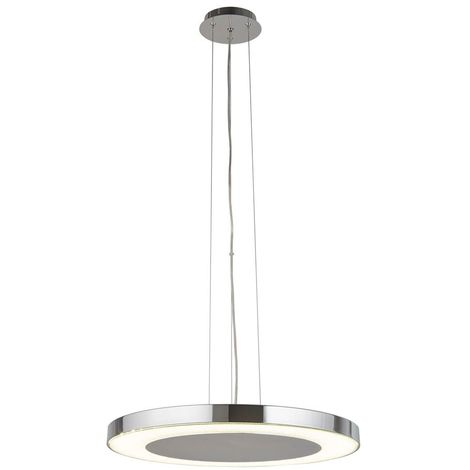LEXI LED DISC CEILING PENDANT (50cm DIA), CHROME, CRUSHED ICE EFFECT DECO