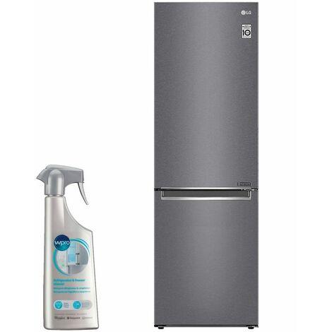 LG réfrigérateur frigo combiné inox 341L Froid ventilé No frost dégivrage automatique - Inox