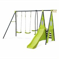 Libeccio - Frame with two swings, 1 two-seater swing, 1 slide, 1 basketball hoop, 1 climbing wall and 1 tipi tent