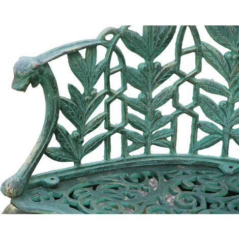 Bank im Liberty-Stil aus Gusseisen mit antikiertem grünem Finish L110xPR60xH90 cm. - G0059