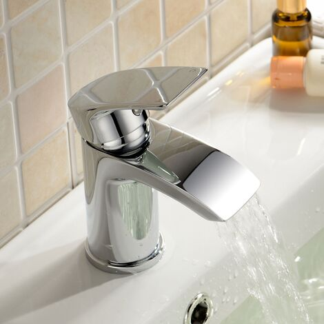 Libra Corner Wall Hung Basin Sing with Mono Waterfall Tap and Waste
