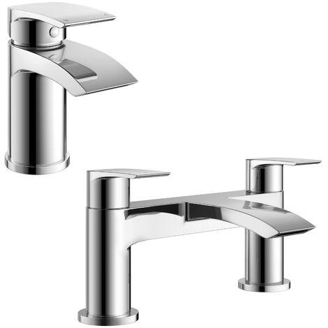 Libra Waterfall Basin Mono Tap, Bath Filler Mixer Tap & Waste Chrome