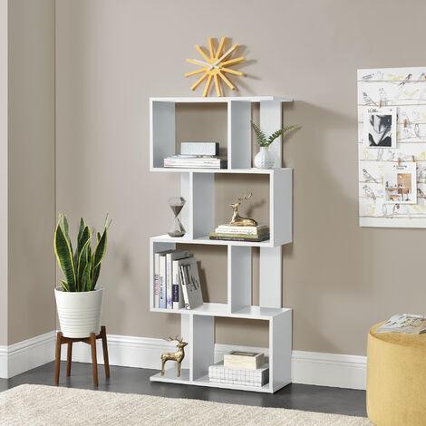 Librería 130 x 60 x 24 cm - Estante para CDs - Soporte para DVDs - Con 8 compartimientos - Blanco