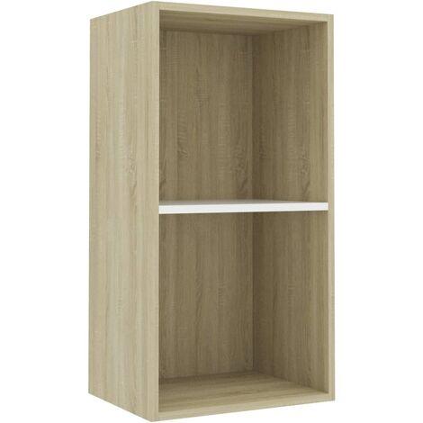Libreria 2 Ripiani Bianco Rovere Sonoma 40x30x76,5cm Truciolato