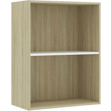 Libreria 2 Ripiani Bianco Rovere Sonoma 60x30x76,5cm Truciolato
