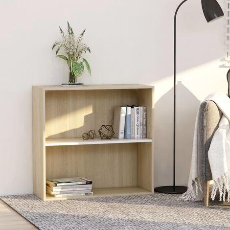 Libreria 2 Ripiani Bianco Rovere Sonoma 80x30x76,5cm Truciolato