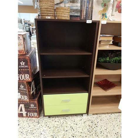 Libreria 2 ripiani wenge-verde lago