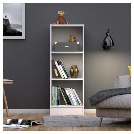 Libreria 3 ripiani 40.6x107.2x26.7, Struttura in foglio melaminico, Bianco