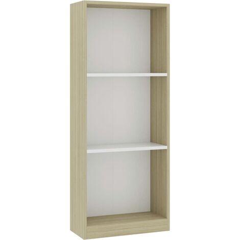 Libreria 3 Ripiani Bianca Rovere Sonoma 40x24x108 cm Truciolato