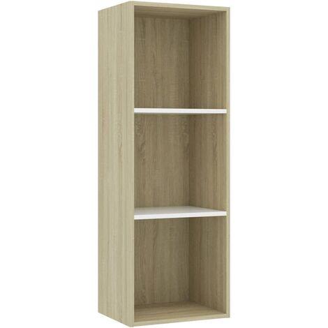 Libreria 3 Ripiani Bianco Rovere Sonoma 40x30x114cm Truciolato