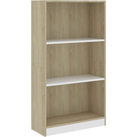Libreria 3 Ripiani Bianco Rovere Sonoma 60x24x108 cm Truciolato