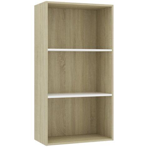 Libreria 3 Ripiani Bianco Rovere Sonoma 60x30x114 cm Truciolato