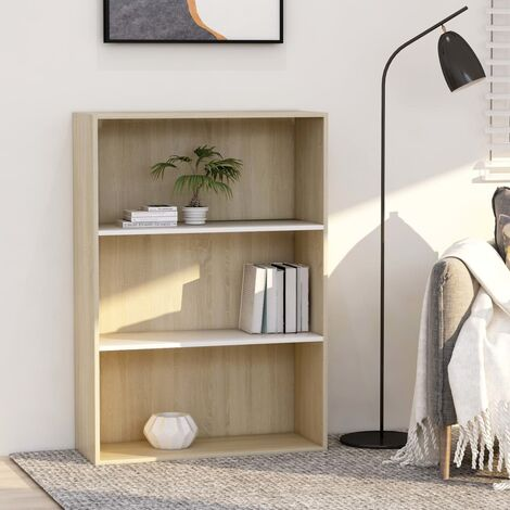 Libreria 3 Ripiani Bianco Rovere Sonoma 80x30x114cm Truciolato
