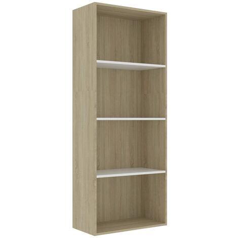 Libreria 4 Ripiani Bianco e Rovere 60x30x151,5 cm Truciolato