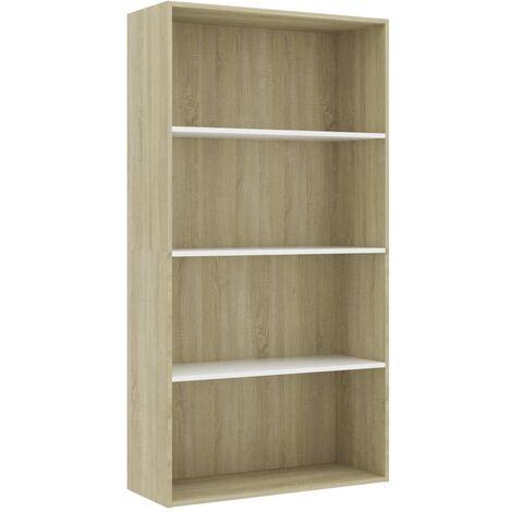 Libreria 4 Ripiani Bianco e Rovere 80x30x151,5 cm Truciolato