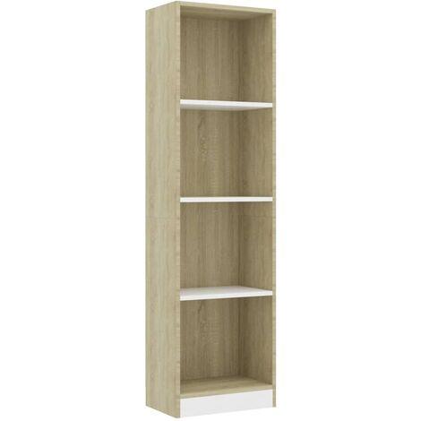 Libreria 4 Ripiani Bianco Rovere Sonoma 40x24x142cm Truciolato