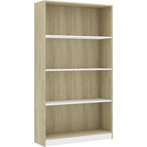 Libreria 4 Ripiani Bianco Rovere Sonoma 80x24x142 cm Truciolato