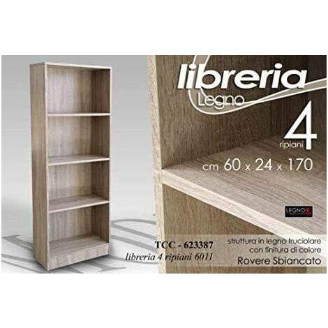LIBRERIA 4 RIPIANI IN LEGNO 60X24X170 ROVERE SBIANCATO