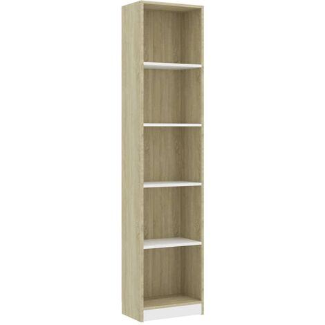 Libreria 5 Ripiani Bianca Rovere Sonoma 40x24x175 cm Truciolato