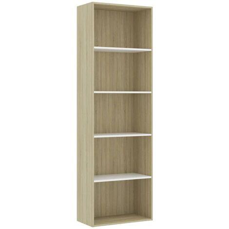 Libreria 5 Ripiani Bianca Rovere Sonoma 60x30x189 cm Truciolato