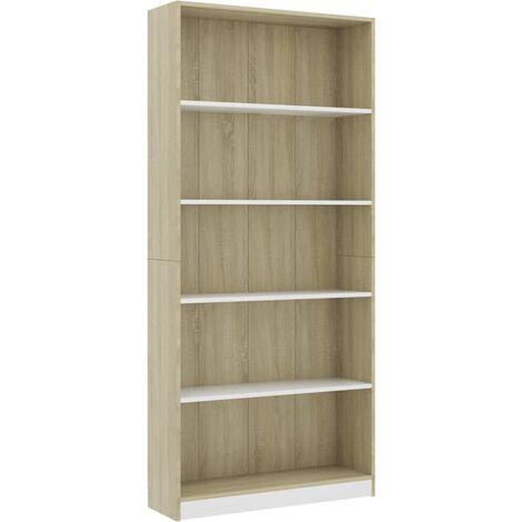 Libreria 5 Ripiani Bianco Rovere Sonoma 80x24x175cm Truciolato