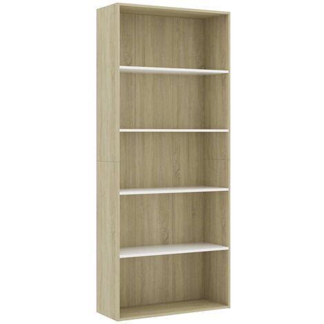 Libreria 5 Ripiani Bianco Rovere Sonoma 80x30x189cm Truciolato
