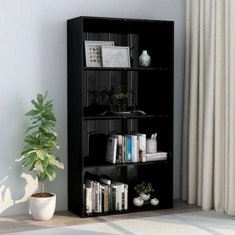 Libreria a 4 Ripiani Nero Lucido 80x30x151,5 cm in Truciolato