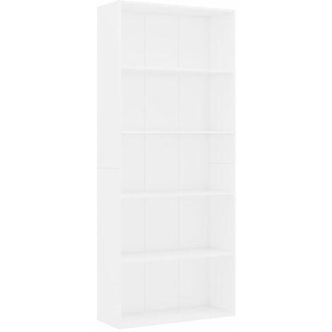 Libreria a 5 Ripiani Bianca 80x30x189 cm in Truciolato