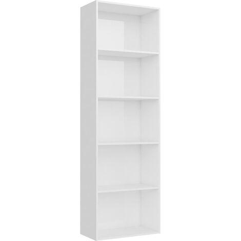 Libreria a 5 Ripiani Bianco Lucido 60x30x189 cm in Truciolato