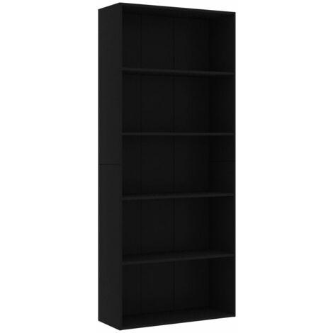Libreria a 5 Ripiani Nera 80x30x189 cm in Truciolato