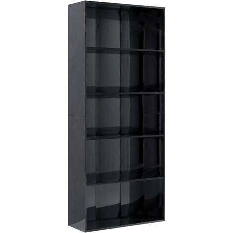 Libreria a 5 Ripiani Nero Lucido 80x30x189 cm in Truciolato