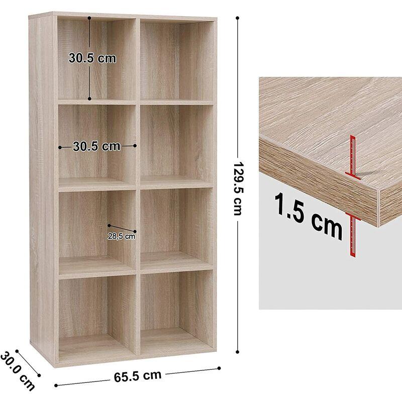 Cubi Di Legno Scaffale.Vasagle Libreria A 8 Cubi Di Colore Rovere Lbc24nl Armadio