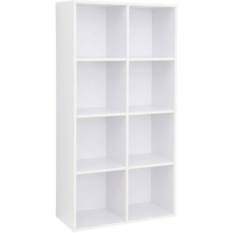 Libreria a 8 Cubi, Scaffale in Legno a Ripiani, Armadio Guardaroba Autoportante per Ufficio e Casa