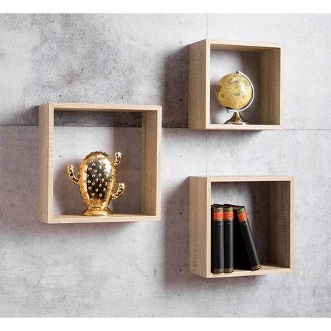 Libreria A Muro In Legno.Libreria A Cubi 3 Scaffali Da Parete Muro Rovere Moderna Mensole Legno Ufficio